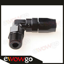 "6AN AN6 AN-6 To 3/8"" NPT 90 Degree Swivel Hose End Fitting Adaptor Black"