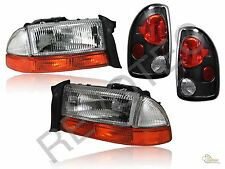 97-04 Dodge Dakota Chrome Headlights + Bumper Signal + Black Tail Lights Lamps