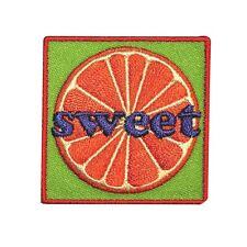"Cool ""Sweet"" Orange Fan Patch Juicy Fruit Food Snack Kids Craft Iron-On Applique"