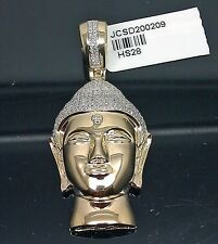 10K Yellow Gold 3D Buddha Charm Pendant With 0.85CT Diamond 2Inches Long