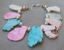 COLOR BLOCKING XL COTTON CANDY TURQUOISE PINK SILVER NECKLACE PENDANT WHITE BLUE