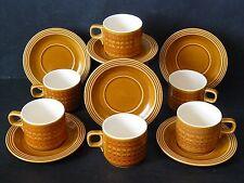 Vintage 70's Retro HORNSEA POTTERY Set 6 Cup & Saucer (12Pieces) SAFFRON Pattern