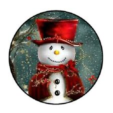 "48 Christmas Snowman Red !!!  ENVELOPE SEALS LABELS STICKERS 1.2"" ROUND"