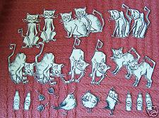 TIM HOLTZ CRAZY CAT STAMPED  DIE CUTS and 3 mini crazy birds -