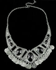 Hot Retro Bohemian Belly Dance Ethnic Black Resin Statement Coins Necklace Free
