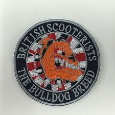 Iron On/ Sew On Embroidered Patch Badge Circle Bulldog Scooterists Round  MOD