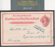 MS2497 1914 BRAZIL Rio Stationery Card Germany RETOUR A L'ENVOYEUR NO ADDRESS..