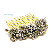 Bridal Wedding Vintage Gold Leaf Crystal Diamante Hair Comb Slide HC42