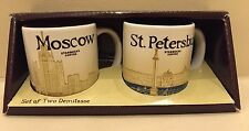 Set of Two Demitasse Starbucks Russia Icon Mugs 3oz Moscow Saint Petersburg NEW