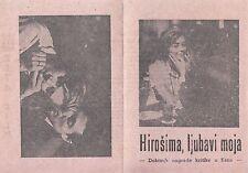 HIROSHIMA MON AMOUR-EMMANUELLE RIVA/A.RESNAIS-ORIGINAL YUGOSLAV MOVIE PROGRAM
