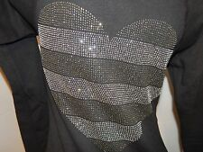 Victoria's Secret Super Model studding heart bling ~ black hoodie XS