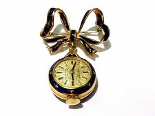 Estate 14k Yellow Gold and Enamel Bow Pin Watch