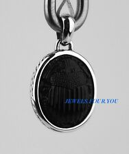 DAVID YURMAN ST. SILVER LARGE PETRUS SCARAB AMULET PENDANT BLACK JADE NEW # 502