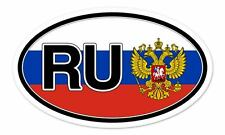"Russia RU Flag Coat of Arms Flag Oval car window bumper sticker decal 5"" x 3"""