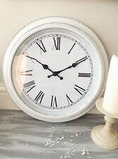 NEW Large White Distressed Shabby & Chic Wall Clock French Vintage Antique 40cm