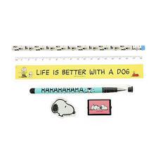 Peanuts Set Papelería Lapicera Lápiz Regla Goma de borrar Sacapuntas Snoopy Charlie Brown