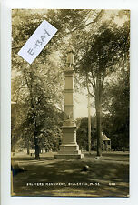 Billerica MA Mass RPPC real photo Civil War Monument, early