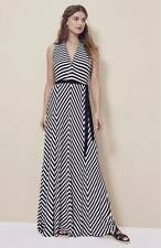 Vince Camuto Belted Striped V-Neck Maxi Dress  Black & White X-Small (0-2) $129