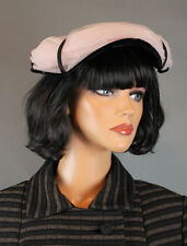 Vintage Fascinator Hat 50s Black Pink Tulle Netting Round Pillbox OS One Size