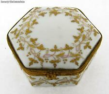 Antique Limoges Raised Gold and White Porcelain Hexagon Box