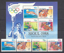 Olympiade 1988, Olympic Games - Neuseeland - 1033-1036, Bl.16 ** MNH