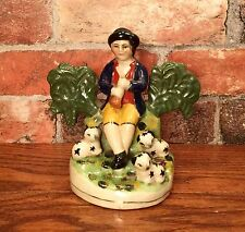 Staffordshire Shepherd Boy with Musical Instrument Porcelain Figurine