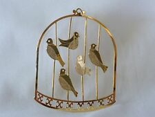 """SHINY GOLD TONE BIRD CAGE ORNAMENT WITH 5 BIRDS HANGING CHRISTMAS 3D 2 1/2"""" X 2"""""""