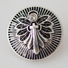 Angel Wing Snap Interchangeable Jewelry Button 18mm Fits Ginger Snaps