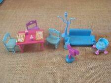 "Polly Pocket Lot ""Colors of the Rainbow"" Blue Furniture Doll House Room - D13"