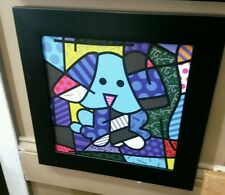 Blue dog by Romero Britto textured open edition framed