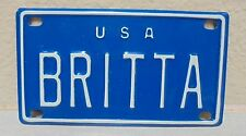 1960'S VINTAGE MINI USA BRITTA LICENSE PLATE NAME TAG SIGN BICYCLE VANITY