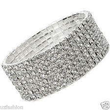 7 ROW DIAMANTE RHINESTONES STRETCH SILVER BRACELET@UK
