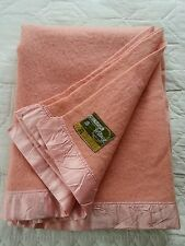 Vintage retro Witney small double pink pure wool blanket 70 x 90 inches C5