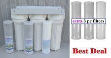 """10"""" Whole House 3 stage filtration water system extra 3 pc filters 1/2"""" port"""