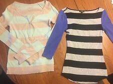 Lot of 2 Items: Express & American Eagle Striped Shirts Tops