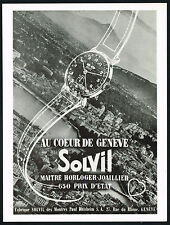 1940's Vintage 1949 Solvil Geneve Wrist Watch City Buildings Photo Art Print AD