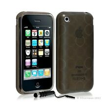 Housse coque etui gel rond transparent pour Apple Iphone 3G/3Gs couleur noir + S