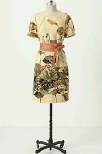 RARE $168 Anthropologie Floreat Asian Snowy Egret Bird Shift Dress Size 6 bow