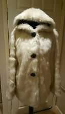 River island - Ivory Faux Fur Hooded Coat Jacket Size 10 New