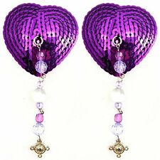 Bijoux de Nip Sequin Heart Shaped Nipple Covers with Beads and Pewter Charm, Pur