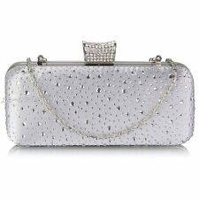 Silver Diamante Wedding Ladies Party Prom Evening Clutch Hand Bag Hard Case