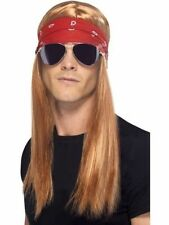 Men's Boys 90's Rocker Kit Axel Rose Guns Roses Wig Bandana Sunglasses Rockstar