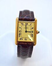 W092-Cartier Must Tank Sterling Silver Yellow Vermeil Quartz  Watch 23MM