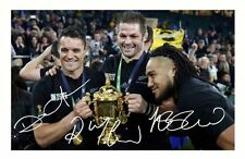 RICHIE MCCAW & MA'AN NONU & DAN CARTER - ALL BLACKS 2015 SIGNED A4 PP PHOTO