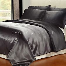 Storm Grey Queen Size Satin Doona Cover Black Reverse Side Duvet + 4 Pillowcases