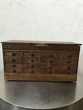 Antique 19th. Century  Watchmakers Pocket Watch Cabinet 16 Drawer Compartments