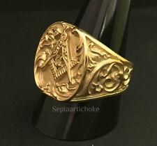 Gilded Ornate Masonic Gold Signet Ring Size UK T½ US 10 jewelry Freemason