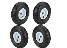 FOUR (4) 10 in. Pneumatic Tires on White Wheel - 4.10/3.50-4 Wagon Cart Dolly