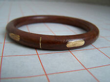 Wooden Bangle with Brass Decoration (Hand Made, Vintage)