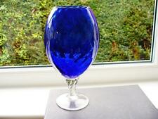 Vintage Deep Blue Art Glass Vase - Brandy Glass Shape - Dimpled Pattern